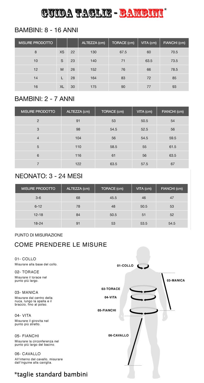 Favoloso Guida alle Taglie di Abbigliamento Bambino/a BS74
