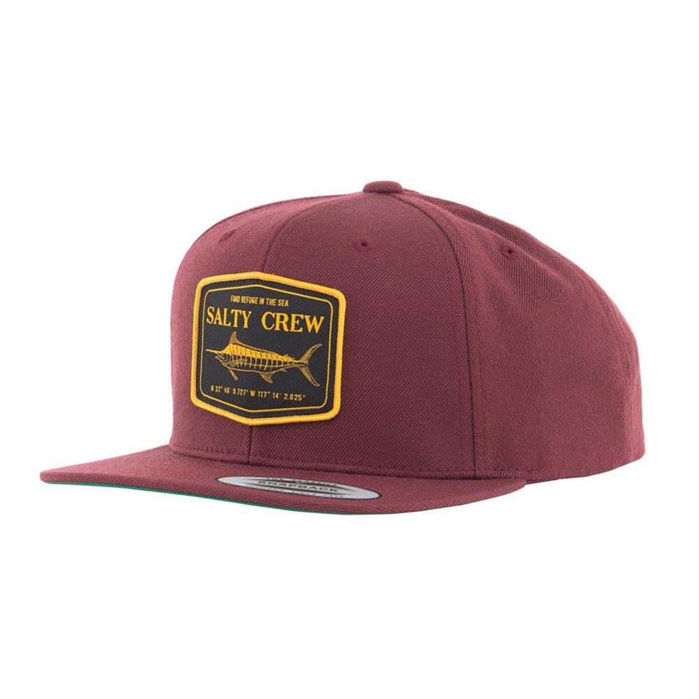 17f806b7a8538 Cappellino Salty Crew Stealth 6 Panel Hat Burgunty
